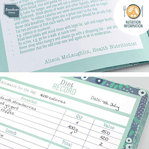 Boxclever Press Food Journal for a Healthier Lifestyle. Food Diary and Food Journal Log Book. Portable Daily Planner to Use with Weight Watchers, Diets or Personal Training Plans. (Turquoise Bloom) 8
