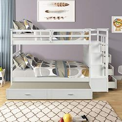 Bunk Bed with Trundle for Kids, Twin Over Twin Bunk Beds with Trundle and Staircase, Solid Wood Trundle Bed with Rails and Storage Drawers (Natural White)