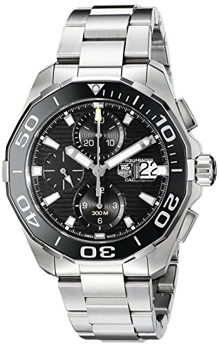 51jQqEEAzML Round watch featuring dive-style rotating bezel, luminous hands/stick indices, three subdials, and date window at 3 o'clock 43 mm stainless steel case with anti-reflective sapphire dial window Swiss automatic movement with analog display