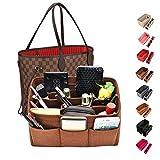 Kumako handbag organizer,Felt purse insert bag organizer fit LV neverful,Speedy,Longchamp&Tote Bag(M, Coffee)