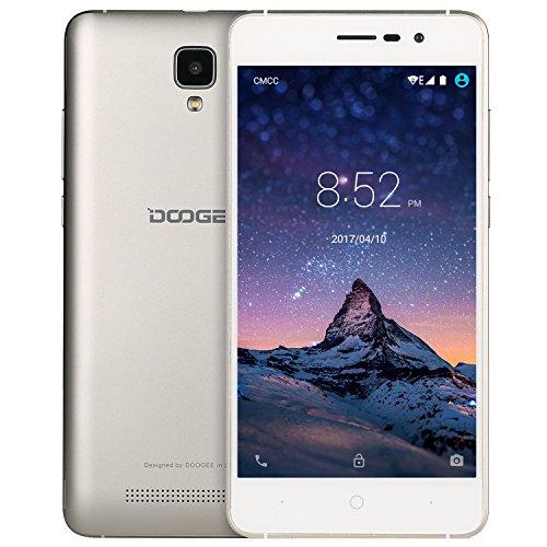 Unlocked Smartphones, DOOGEE X10 GSM International Phone - 5.0' IPS Display - Android 6.0 - 8GB ROM - 2MP+5MP Dual Camera - 3360mAh Battery - Dual Sim Unlocked Cell Phones - Gold(no ads)