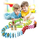 LEO & FRIENDS Wooden Dominoes Set for Kids-Building Blocks Preschool Educational Toys with Animal Shapes and Number/Letter Pattern