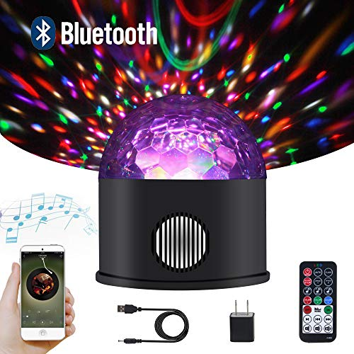 Samsion LED Disco Ball Party Lights Bluetooth Speaker Sound Activated USB Powered Portable 9 Colors DJ Strobe Light Remote Control for Kids Gifts Wedding Birthday Bar Halloween Christmas Camping