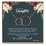 DOPTIKA Mother Daughter Necklace - Sterling Silver Two Interlocking Infinity Double Circles, Birthday Gifts for Daughter from Mom - Mom Daughter Jewelry Gift (C - Rose Gold)