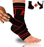 Ankle Brace Compression Sleeve with Removable Strap to Stabilize, Protect and Relieve Pain from Tendon Injuries and Plantar Fasciitis (Black/Red, L)