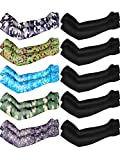 Boao 10 Pairs UV Protection Cooling Arm Sleeves Anti-Slip Ice Silk Arm Cover for Men (Color Set 2)