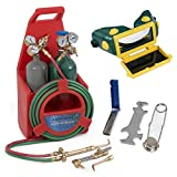 ARKSEN Portable Professional Torch Kit Oxygen & Acetylene Welding CGA200 / CGA540 Tote Storage w/Handle, Red