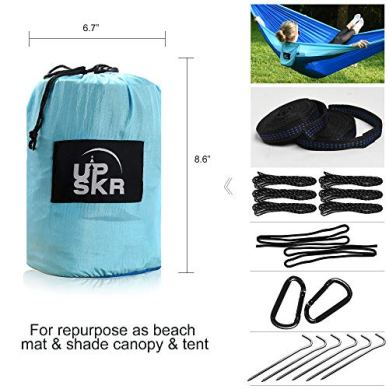 UPSKR-Camping-Hammock-Double-Single-Waterproof-Lightweight-Parachute-Heavy-Duty-Carabiners-with-Tree-Straps-USA-Based-Hammocks-Brand-Gear-Indoor-Outdoor-Backpacking-Survival-Travel-Portable