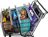 Lotus Trolley Bags -set of 4 -w/LRG COOLER Bag & Egg/Wine holder! Reusable Grocery Cart Bags sized for USA. Eco-friendly 4-Bag Grocery Tote. (Purple, Turquoise, Blue, Brown,)