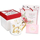 Boss Lady - Engraved Gold Bone China Coffee Mug With Gold Handle Free Gift Box and Gift Bag + Free Spoon, Best Christmas and Birthday Gifts for Women Boss Mom - 12 oz