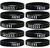 (10-pack) Success, Focus, Believe - Motivational Silicone Rubber Wristbands Bulk Pack in Unisex Adult Size for Teens Men Women - Wholesale Business Fitness Inspirational Gifts Lot