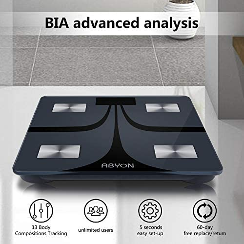 ABYON Bluetooth Smart Bathroom Scales for Body Weight Digital Body Fat Scale,Auto Monitor Body Weight,Fat,BMI,Water, BMR, Muscle Mass with Smartphone APP,Fitness Health Scale 3