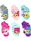 Shimmer and Shine Girls 6 pack Socks (4-6 Toddler (Shoe: 7-10), Shimmer Shine Grey/Multi)