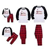 BOBORA Christmas Pajamas for Family, Merry Christmas Santa Classic Plaid Matching Family Xmas Pajama Set (XS/6M, Infants')