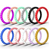 Zollen 12 Packs Silicone Wedding Rings for Women, Thin Braided Rubber Wedding Bands Stackable Ring, Hypoallergenic Silicone