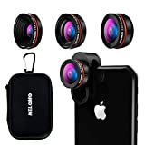 NELOMO Universal Professional HD Camera Lens Kit for Compatible with IPhone XR XS X/8/7Plus/7/6sPlus/6s, Samsung S9 Plus and Other Cellphones ( Fisheye Lens, Super Wide Angle Lens, Super Macro Lens)