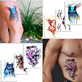 6 Stunning Temporary Tattoos Artistic Designs - For Adults and Women - Tattoos for Arms Legs Shoulder or Back