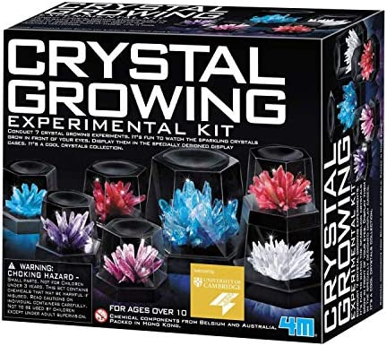 4M 5557 Crystal Growing Science Experimental Kit – 7 Crystal Science Experiments with Display Cases – Easy DIY STEM Toy Lab Experiment Specimens, Educational Gift for Kids, Teens, Boys & Girls