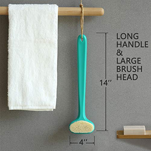 Bath Body Brush with Comfy Bristles Long Handle Gentle Exfoliation Improve Skin's Health and Beauty Bath Shower Wet or Dry Brushing Body Brush (White & Green) 7