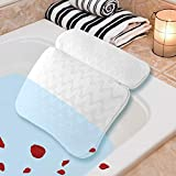 Bath Pillow Non-Slip Spa Bath Pillow for Tub, Bathtub Pillow 3D Air Mesh Technology, Machine Washable 6 Large Suction Cups - Bathtub Cushion Pillow Support for Neck Head and Shoulder, Fits Any Tub