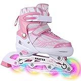 Dongchuan Breathable Mesh Inline Skates Eight Illumination Wheels Aluminum Frame Adjustable Roller Skates For Adults/Kids/Boys/Girls