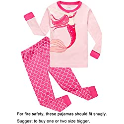 Family Feeling Mermaid Little Girls Long Sleeve Pajamas Sets 100% Cotton Pyjamas Kids Pjs, Pink, Size 6