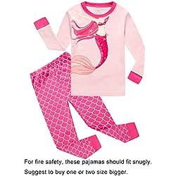 Family Feeling Mermaid Little Girls Long Sleeve Pajamas Sets 100% Cotton Pyjamas Kids Pjs, Pink, Size 6