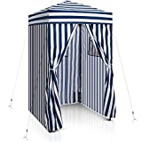 EAGLE PEAK Flex Ultra Compact 4'x4' Pop-up Changing Room Canopy, Portable Privacy Cabana for Pool, Fashion Photoshoots, or Camping, Navy Blue/White