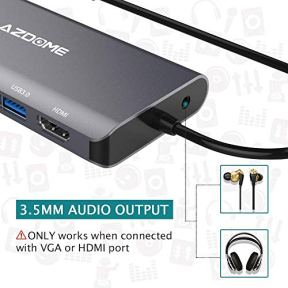 AZDOME-Laptop-Docking-Station-8-in-1-USB-C-Hub-Adapter-thernet4K-HDMIVGAUSB-30-PortsPD-20-Charging-Port-Card-Reader-Audio-Mic-Port-MacBookMacBook-Pro-2018-2017-2016Chromebook