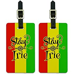 Stay Irie Rastafarian Flag Luggage ID Tags Suitcase Carry-On Cards - Set of 2