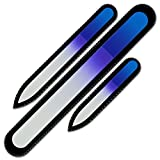 Mont Bleu Premium Set of 3 Crystal Nail Files in Velvet Pouch, Rainbow Colors, Genuine Czech Tempered Glass - Lifetime Guaranty - Handmade in Czech Republic - Best Glass Nail Files for natural nails