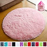 PAGISOFE Super Soft Circle Rugs for Girls Princess Castle Toddlers Play Tent 41' Diameter Circular Area Rugs for Kids Bedroom Baby Room Decor Round Shag Playhouse Carpets and Nursery Rugs (Pink)