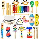 Toddler Musical Instruments- Ehome 15 Types 22pcs Wooden Percussion Instruments Toy for Kids Preschool Educational, Musical Toys Set for Boys and Girls with Storage Bag
