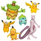 "Detective Pikachu Battle Action Figure 6-Pack – Includes two 2"" Detective Pikachu Figures, 2' Psyduck, 2' Bulbasaur, 3' Mewtwo, and 3' Ludicolo"
