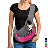 YUDODO Pink Pet Carrier, Soft Mesh Chihuahua Carrier Small Dog Cat Rabbit Tote Sling Bag for Walks (Pink, S, fits Small Animals Less Than 4lb)