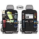 KNGUVTH Backseat Car Organizer Kick Mats, Car Seat Back Protectors with Clear 10' Tablet Holder + 5 Storage Pockets Back seat Organizer for Kids Toy Bottle Drink Vehicles Travel Accessories (2 Pack)