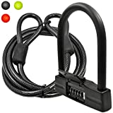 Lumintrail 18mm 5-Digit Bike Combination U-Lock - Black with 7-Feet Cable