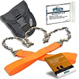 26' Camping Pocket Chainsaw Cuts 3X Faster w/Blade on Every Link - Bonus Front Snap Carrying Case,...