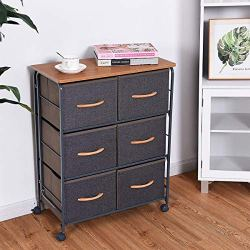 Modern Style Design, Metal Frame Wood Chest Storage Cabinet Organiser with 6 Unique Removable Fabric Drawer and Wheels for Storing Leggings, Yoga Pants, Sweaters, Apartments, Condos, Dorm Rooms