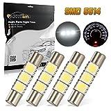 Partsam 4PCS White 29mm Festoon LED Light Interior Vanity Mirror Sun Visor Lamps