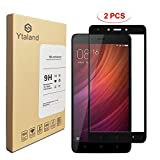 [2 Pack] Ytaland Tempered Glass For Xiaomi Redmi Note 4X (3G/32G) 5.5Inch, Full Covered Anti-fingerprints Thin 9H Hardness Screen Protector For Xiaomi Redmi Note 4 Global Version (Black)