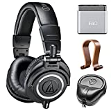 Audio-Technica Professional Studio Headphones-Black (ATH-M50x) w/Amplifier Bundle Includes, FiiO A1 Portable Headphone Amplifier, Slappa HardBody Headphone Case and Universal Wood Headphone Stand