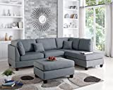 Poundex F7606 Bobkona Dervon Linen-Like Left or Right Hand Chaise Sectional with Ottoman Set, Grey