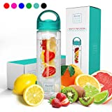 Savvy Infusion Water Bottles - 24 or 32 Ounce - Featuring Unique Leak-Proof Sealed Cap w/ Handle - Includes Bonus Recipe Ebook