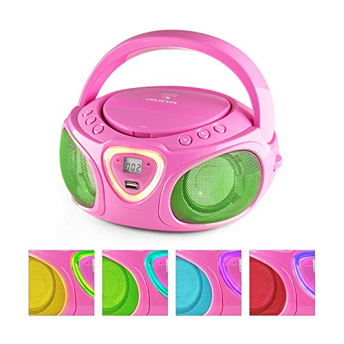 auna Roadie • Portable Boombox with CD Player and Radio • LED Light • AM/FM Radio • Bluetooth • MP3/CD Player • Aux-Input • Headphone Jack • Pink