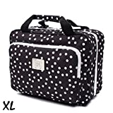 Large Versatile Travel Cosmetic Bag - Perfect Hanging Travel Toiletry Organizer (XL Polka dot)