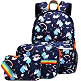 Kemy's Unicorn Backpack for Girls School Bookbag 3 Pieces Cute Inicorn Rainbow Book Bags 14inch Laptop Bag for Girl, Navy Blue