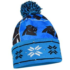 NFL Carolina Panthers Busy Block Printed Light Up Beanie, One Size, Blue