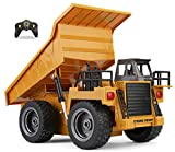 Top Race RC Remote Control Construction Dump Truck Toy with Lights & Sounds for Kids and Toddlers Boys and Girls of All Ages, 2.4Ghz (TR-112G) Works Well with Our Excavator Tractor