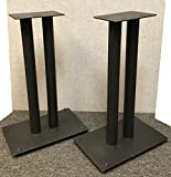 "Vega A/V Systems 24"" Heavy Duty, Steel Speaker Stands | Fillable | For Klipsch Bookshelf Speakers | Set of 2 | Steel Carpet Spikes | 10"" x 16"" 4mm Steel Base, 6"" x 9"" Speaker Pedestal | Black"